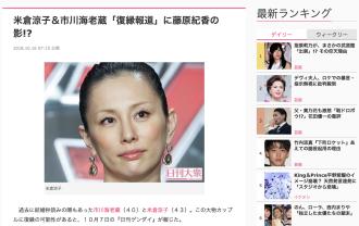 米倉涼子&市川海老蔵「復縁報道」に藤原紀香の影!?